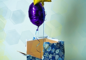 Balloons in box